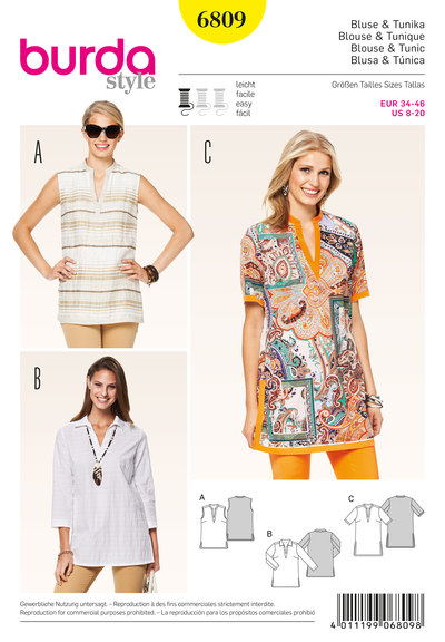 Blouse and tunic, hem and neck bands