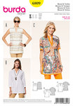 Burda 6809. Blouse and tunic, hem and neck bands.