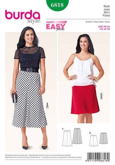 Skirt, 4 gores, elastic casing