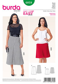 Skirt, 4 gores, elastic casing. Burda 6818.