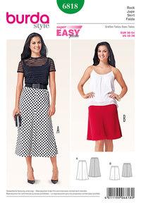 Skirt, 4 gores, elastic casing. Burda 6818.