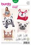 Burda 6827. Cushions, animal motifs, dog, cat, owl, raccoon.