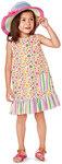 Pinafore dress, hem flounce, pattern mix