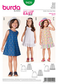 Pinafore dress, hem flounce, pattern mix. Burda 9420.