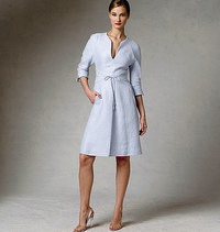 Vogue 1381. Dress, knee length, sleeve details.