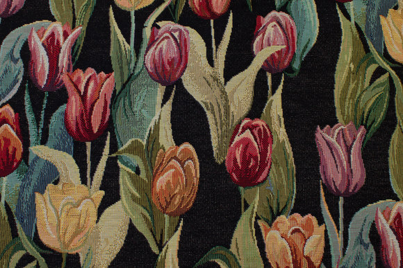 Beautiful black tapestry with colored tulips