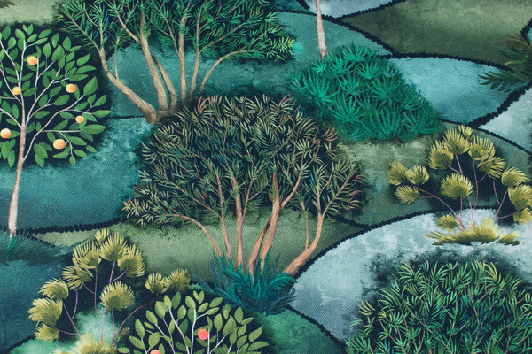Beautiful medium-thickness, soft cotton with trees in green nuances in digital-print