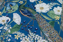 Beautiful tapestry in petrol-blue with peacocks and flowers