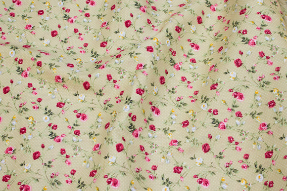 Beige cotton with roses and mini-dots