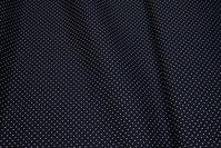 Black stretch-poplin with white mini-dots