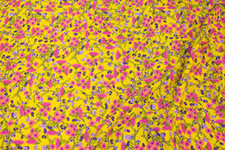 Blouse-viscose in warm yellow with pink flowers
