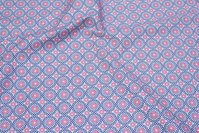 Cotton with retro-pattern in light blue and soft red