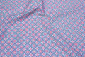 Cotton with retro-pattern in light blue and soft red.