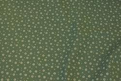 Double-woven cotton-crepe (gauze) in almon green with small light flower
