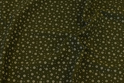 Double-woven cotton-crepe (gauze) in olive-green with small light flower