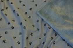 Dove-blue sweatshirt fabric with 1 cm paw-prints
