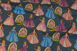 Dust grey-blue cotton-jersey with Disney-princesses