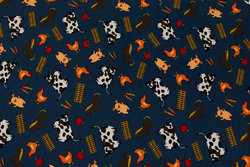 Dusty navy cotton-jersey with farm animals