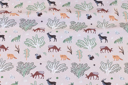 Firm cotton in dusty old rose with forest-animals