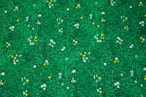Green patchwork-cotton with grass, small daisies