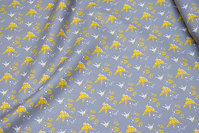 Grey cotton with ca. 25 mm yellow birds