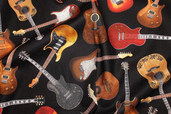 Guitars on patchwork-cotton