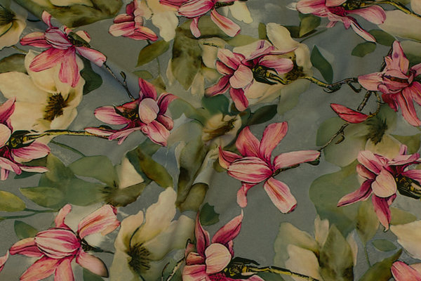 Helt light stretch-polyester in mint with pink orchids