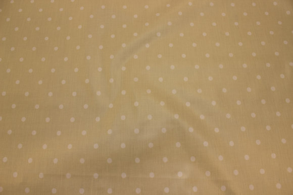 Light sand-colored textile-table-cloth with 8 mm white dot