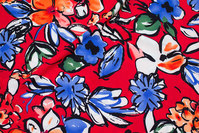 Lightweight, red micro-polyester with big flowers in blue and red