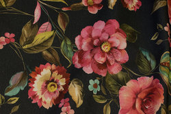 Medium-thickness cotton in dusty navy with pink flowers
