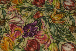 Medium-thickness, linen-colored cotton with purple, red and yellow tulips