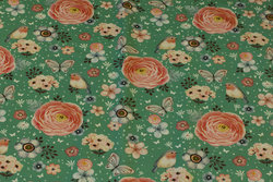 Mint-green cotton-jersey with flowers, birds and butterflies