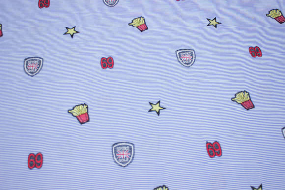 Narrow-striped blue and white cotton with fun embroidery motifs