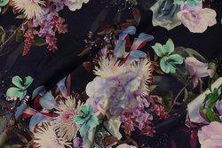 Navy cotton-jersey with big light-purple flowers