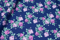 Navy cotton with light-purple roses.