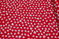 Red cotton with 1-1½ cm white hearts