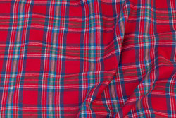 Red cotton-flannel with dove-blue checks