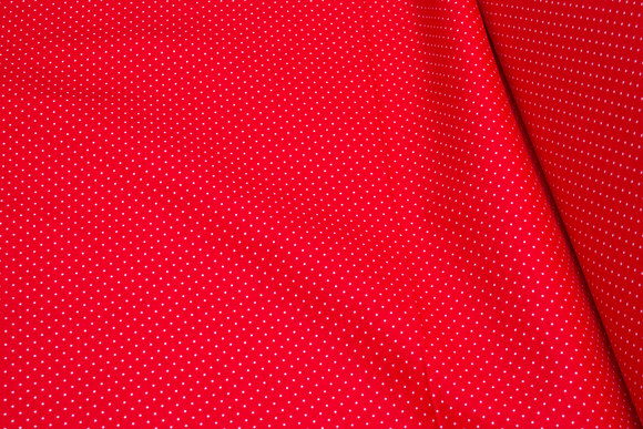 Red cotton with white mini-dots