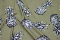 Soft, lightweight piqué-jersey in army-green with pineapple motif