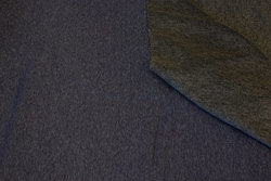 Speckled navy sweatshirt fabric with grey fur-back
