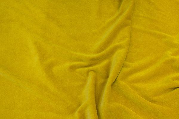 Stretch velvet in brass-yellow