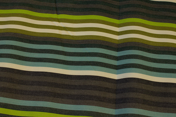 Striped sunchair fabric in green, brown and turqoise
