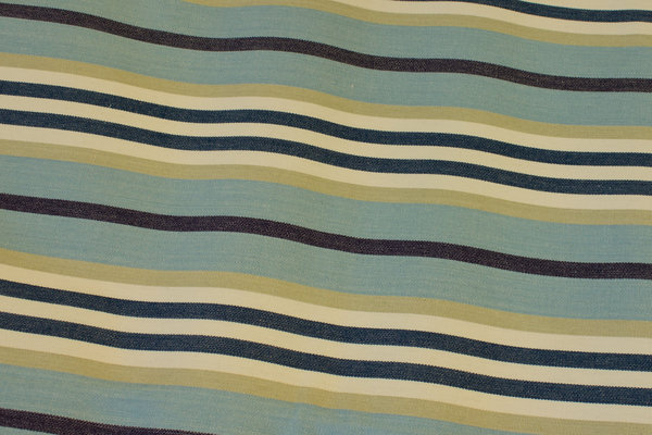 Striped sunchair fabric in light blue, sand and navy