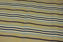 Striped sunchair fabric in sand, navy and light blue
