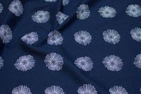 Thin, navy cotton-batiste with ca. 5 cm white flower
