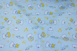 Firm cotton in light mint with 4 cm teddies