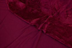 Wine-red sweatshirt fabric with fur-back