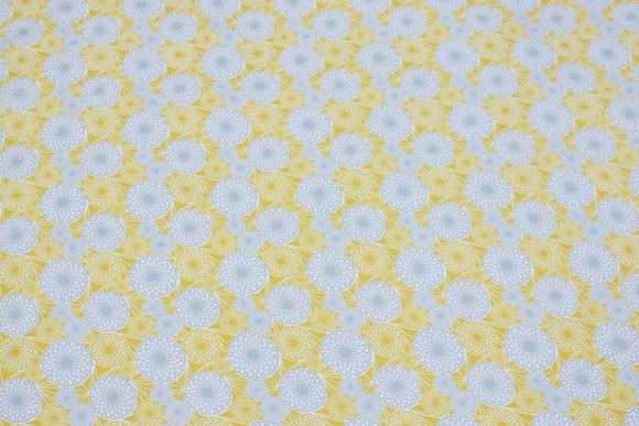 Yellow cotton ned light grey circle-pattern