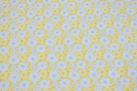 Yellow cotton ned light grey circle-pattern