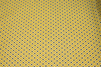 Yellow cotton with small retro-pattern in navy